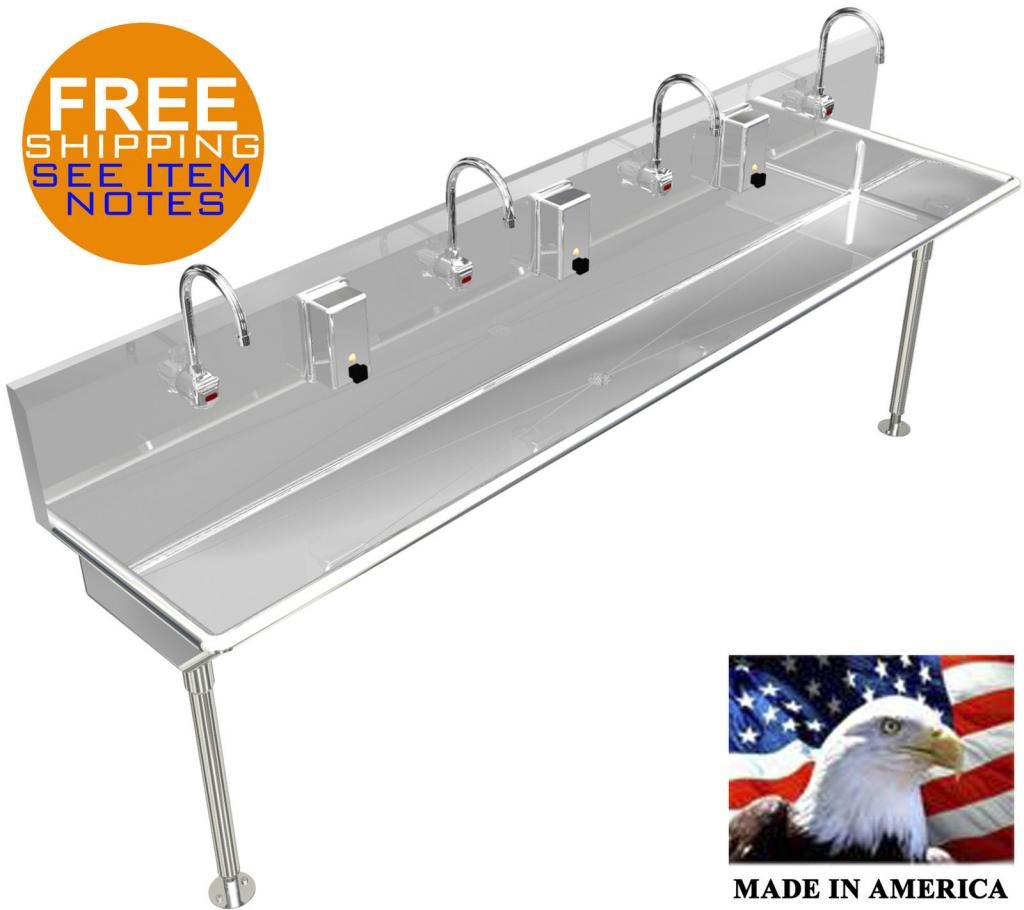 4 MULTI STATION 84'' WASHING UP HAND SINK ELECT FAUCET HANDS FREE MADE IN AMERICA by BSM