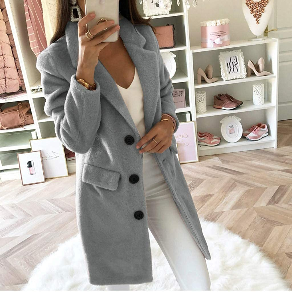 Ulanda Womens Basic Essential Double Breasted Mid-Long Wool Blend Over Coat Long Pea Coat Outerwear Jacket