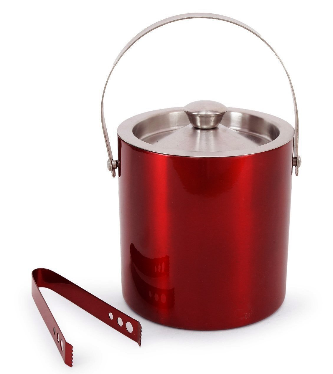 PARIJAT HANDICRAFT Stainless Steel Double Walled/Insulated Red Coloured Ice Bucket with tong - 1750 ml | Bar Tools | Bar Accessories - Ideal for Party Get together and Gifting