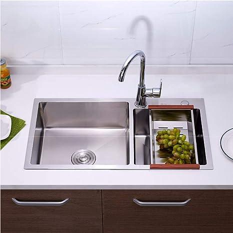 Lavabos de cocina, fregadero de acero inoxidable lavabo ...
