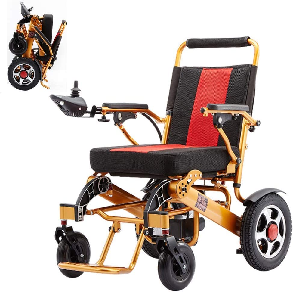 Silla de Ruedas eléctrica, Anciano Plegable Ayuda para discapacitados Coche Anciano Compacto Inteligente Portátil Ligero Ligero portátil