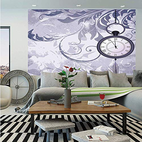 SoSung Antique Removable Wall Mural,A Pocket Watch on Chain on Classic Ornamental Background with Silhouette of Leaves,Self-Adhesive Large Wallpaper for Home Decor 66x96 - Watches City Chain