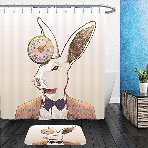 : ShowerCurtian & Doormat clock rabbit 123830035 (Better Neon Clock)