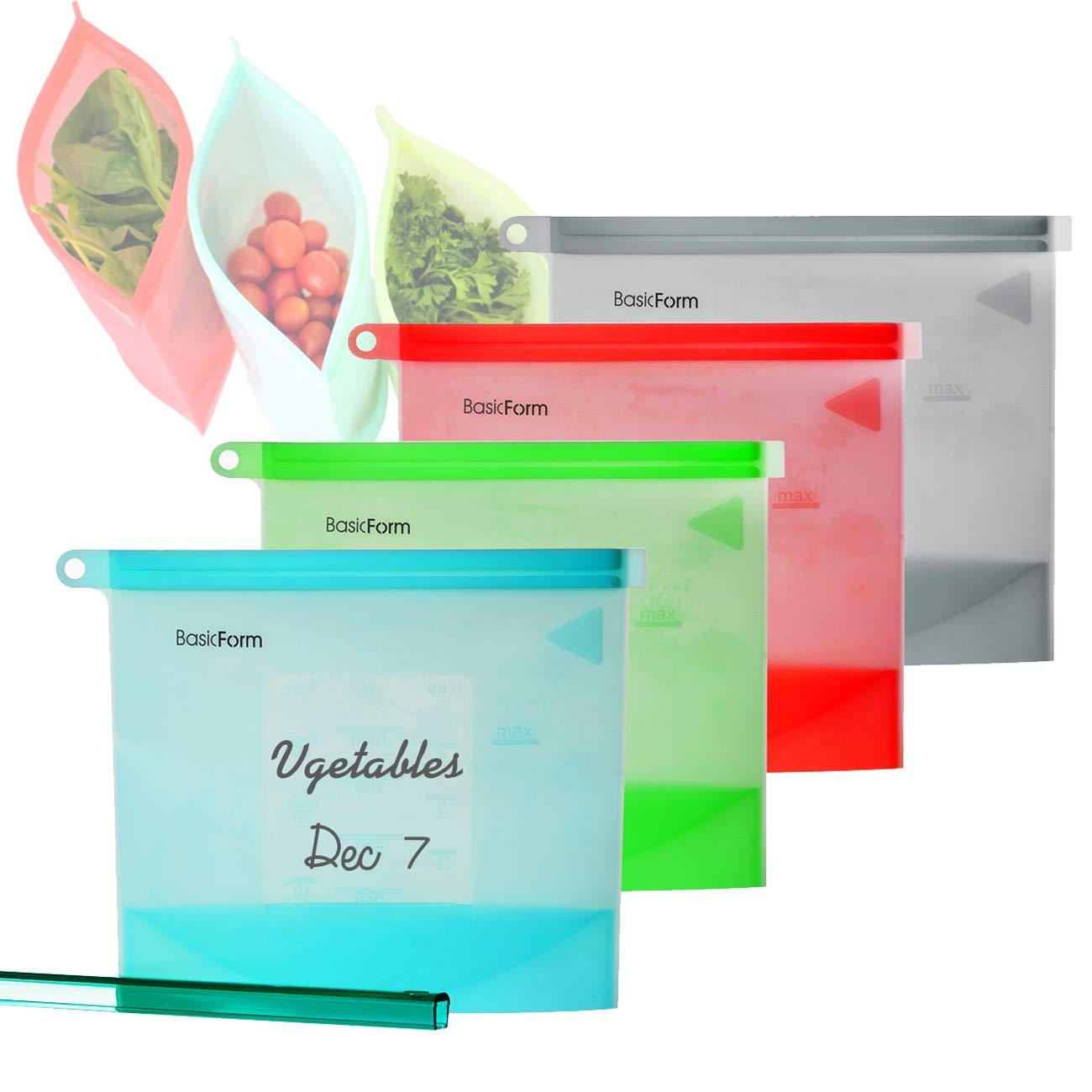 BasicForm Bolsa reutilizable de preservaci/ón de alimentos de silicona Sello herm/ético a prueba de fugas paquete de 4