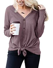 Gemijack Womens Plus Size Tops Waffle Knit Long Sleeve Henley Shirts Casual V Neck Tie Knot Tunic Blouse
