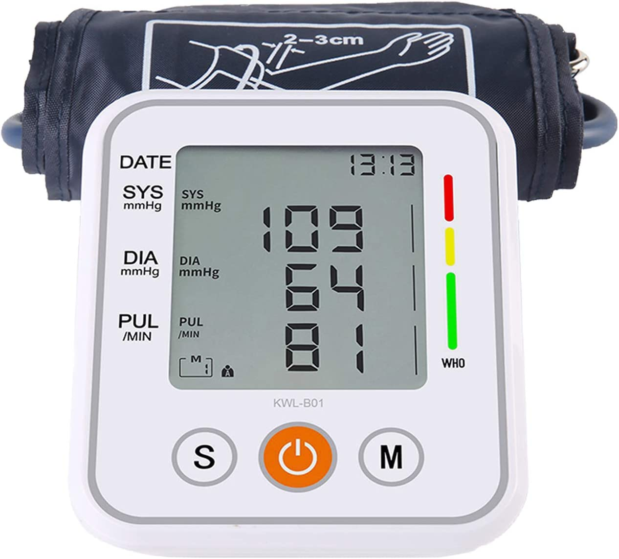 Blood Pressure Monitor Battery Operated Blood Pressure Cuff Voice Broadcast Portable Heartbeat Monitor Large Display with Cuff and Tubing