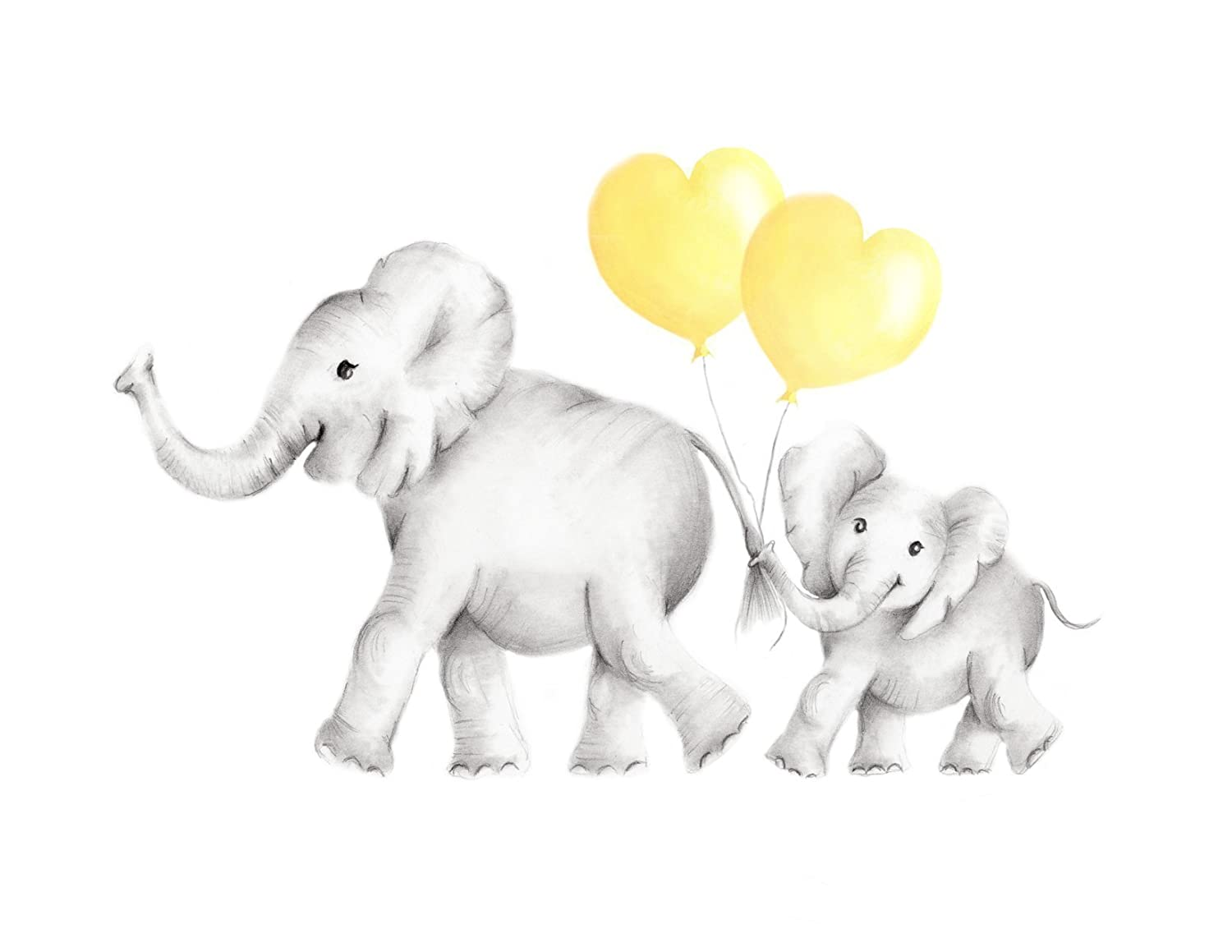 Elephant Nursery Art Print, Mother and Baby with Heart Balloons, Various Sizes Available, UNFRAMED PRINT