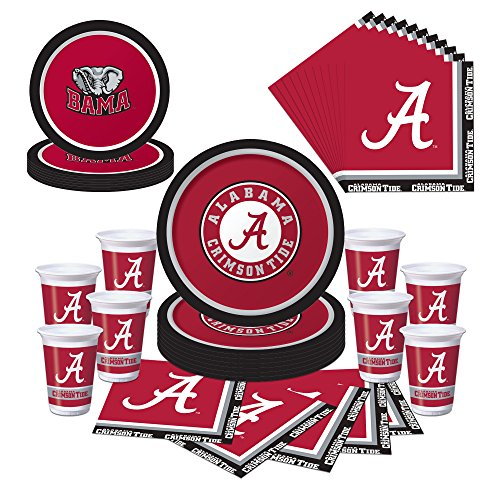 Alabama Crimson Tide Party Pack - Plates, Napkins, Cups - Serves (Alabama Football Party Supplies)