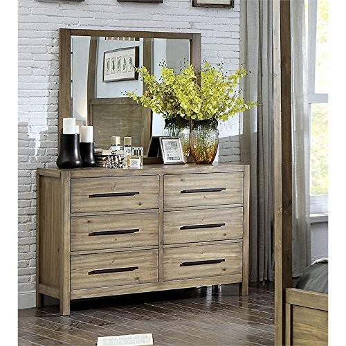 Furniture of America Mark 6 Drawer Dresser and Mirror Set in Light Oak