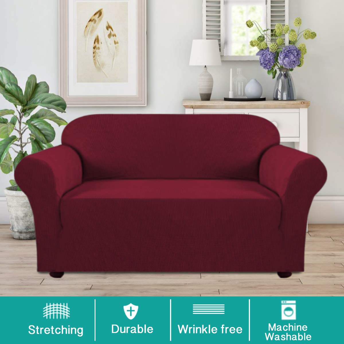 Turquoize Armchair Slipcover 1-Piece Jacquard High Stretch Amrchair Arm Chair Slipcover Machine Washable Stylish Furniture Protector Cover for Sofa and Couch Chair-Brown