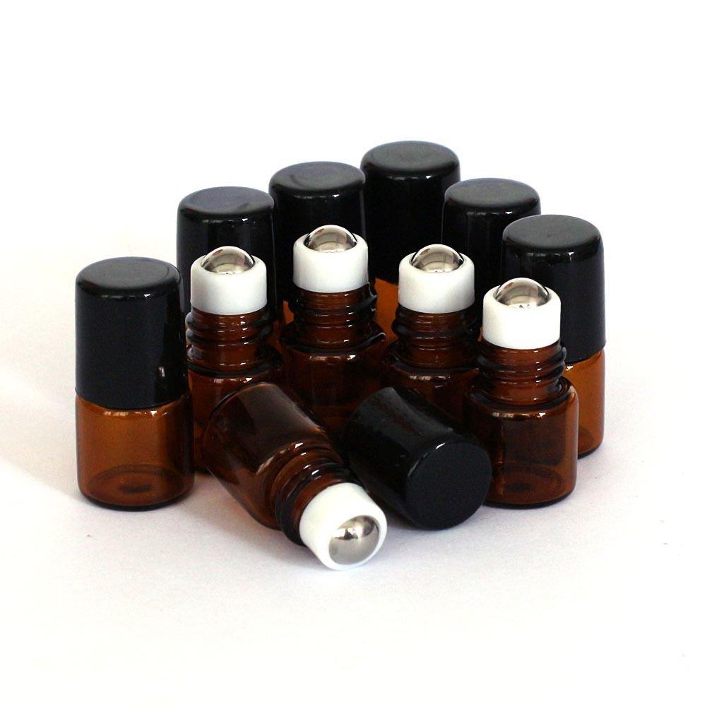 Botella de cristal vací a de color marró n con aplicador de bola para aceites esenciales, 10 unidades, 1 ml. Greenlans