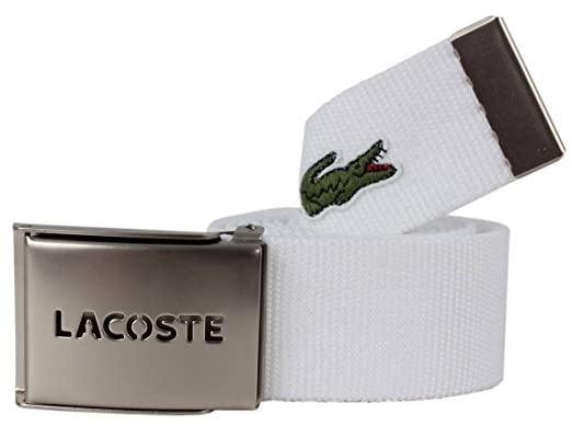 7b3a7a500 Image Unavailable. Image not available for. Color  Lacoste Mens Webbed Belt  - White