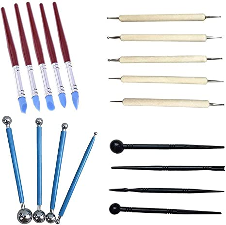 DIY Carving Set Clay Sculpture Carving Tools 5pcs Wooden Handle Art Supplies