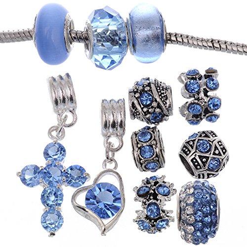 RUBYCA Murano Lampwork Charm Glass Beads Tibetan Crystal European Bracelet Mix Assortment Saphire 15Pcs