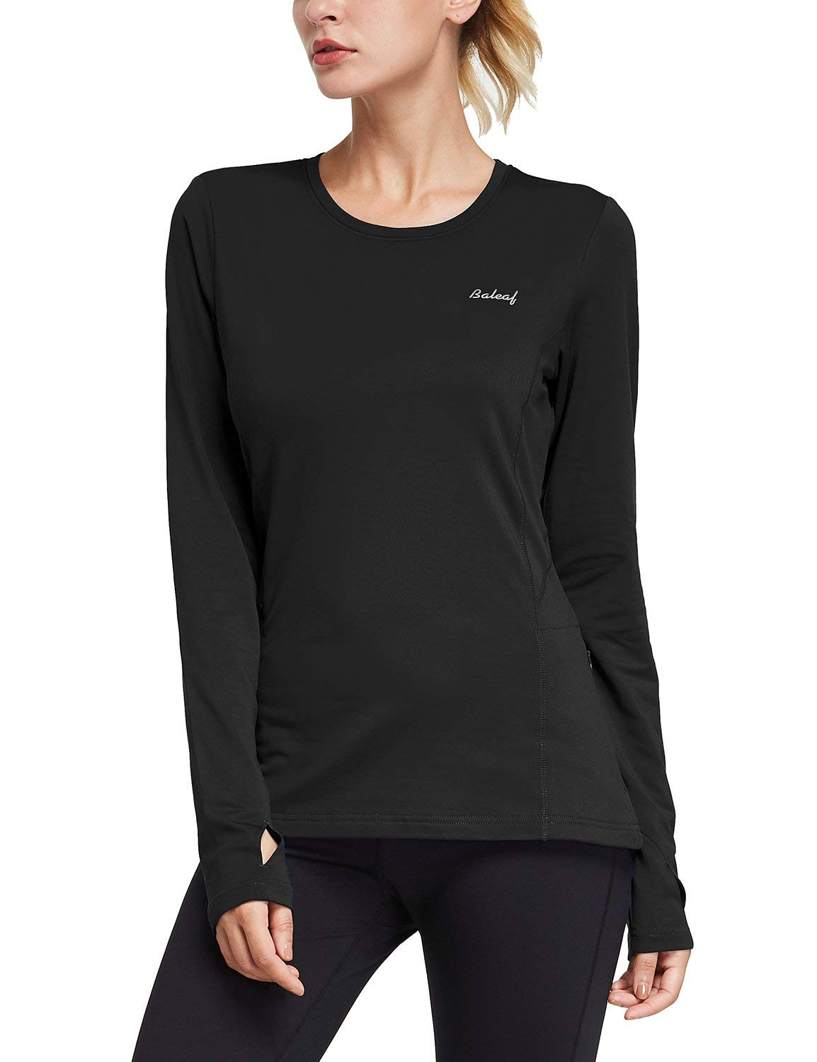 BALEAF Women's Thermal Fleece Tops Long Sleeve Running Shirt with Thumbholes Zipper Pocket Black Size S by BALEAF