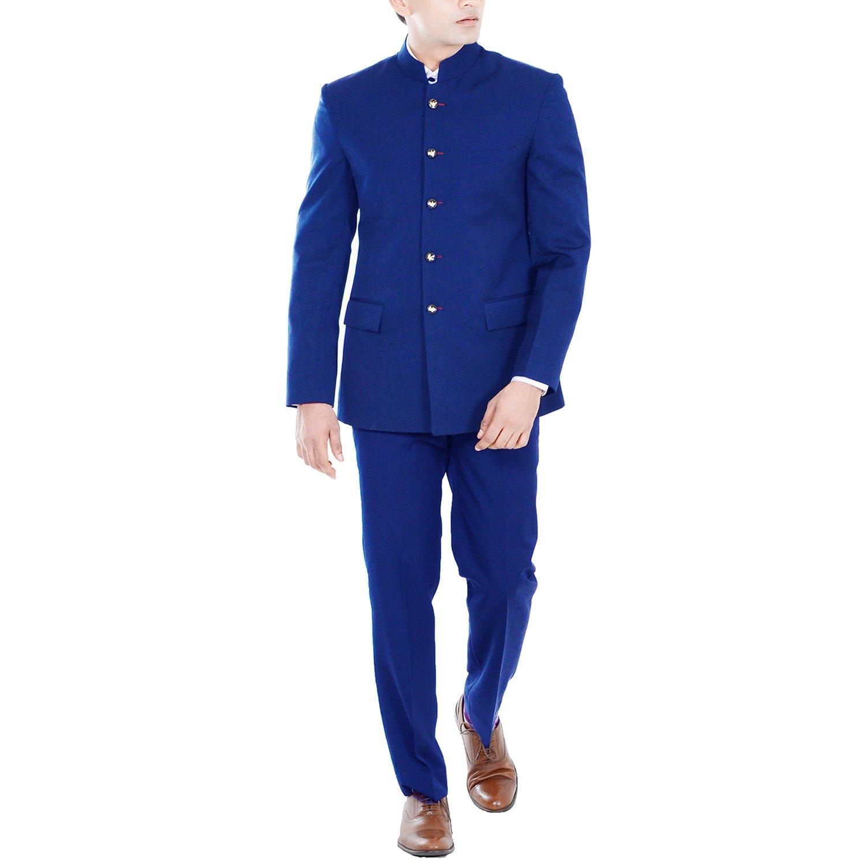 Hangrr Premium Royal Blue Jodhpuri Suit