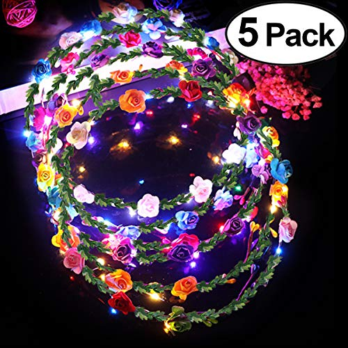 Wedding Flowers Gift - 5 Pack Led Flowers Headbands Crowns for Women Girls Adult Handmade Floral Wreath 3 Flash Modes Led Lights Up Flowers Head Wreath Accessories for Party Wedding Prom Concert Gifts Photo Clothing Props