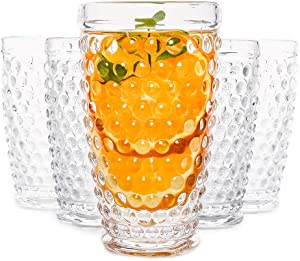 Hobnail Old Fashioned Iced Beverage Glass, Premiun Glass Set for Refreshments, Soda & Juice, Perfect for Dinner Parties, Bars & Restaurants, 13oz, Set of 6 (Clear) (Clear, Highball 13.32oz)