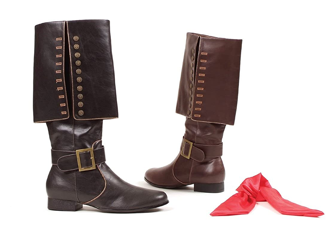 Ellie Shoes Mens 1 Heel Pirate Boot with Red Sash Sizes