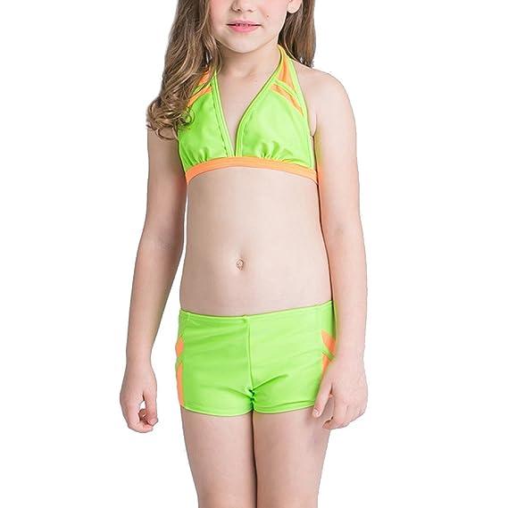 Niños Chicas En Bikini 2 Piezas De Baño Natación Traje De Baño Verde: Amazon.es: Ropa y accesorios