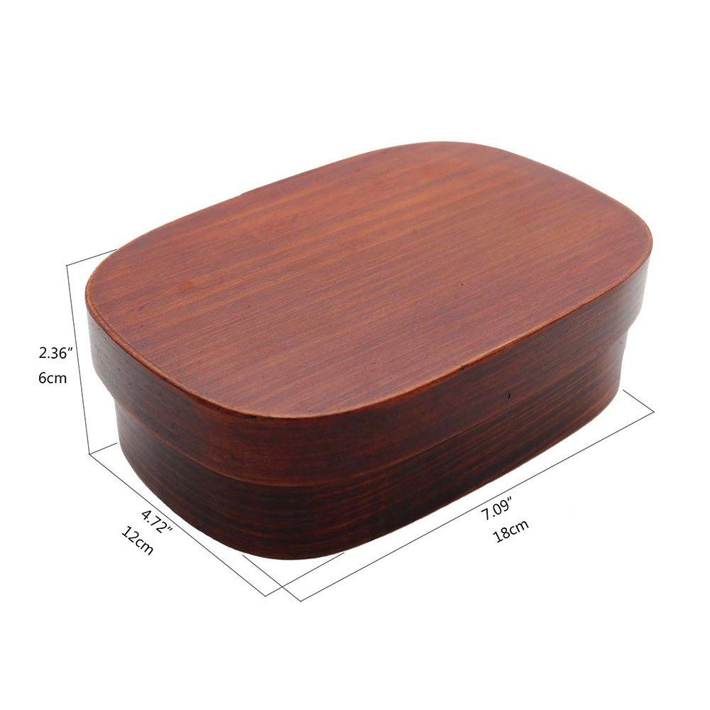 Ecloud Shop/® Bo/îte /à boiserie en Bois Bento Box avec s/éparateur Interne R/écipient de Nourriture en Bois