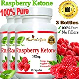 3 Raspberry Ketones 1000mg 100% Pure - 180 Capsules - All Natural Weight Loss Supplement, Max Strength Plus Appetite Suppressant Diet Pills, Premium Lean Health Extract to Boost Energy & Metabolism