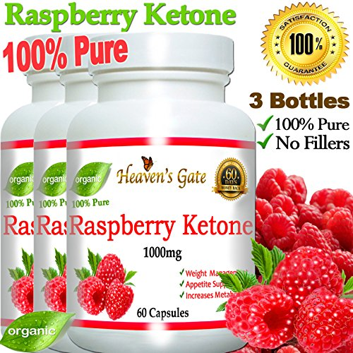 3 Raspberry Ketones 1000mg 100% Pure - 180 Capsules - All Natural Weight Loss Supplement, Max Strength Plus Appetite Suppressant Diet Pills, Premium Lean Health Extract to Boost Energy & Metabolism by Affordable Natural Health