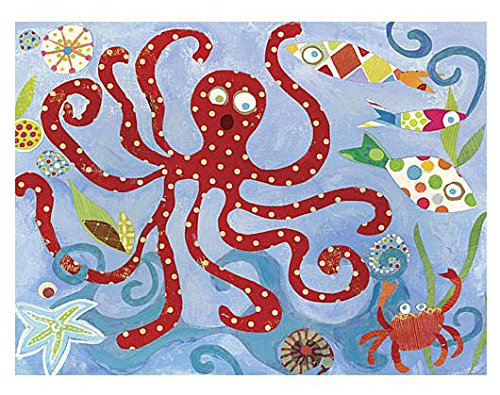 Oopsy Daisy Red Octopus Stretched Art, 24 x 18'' by Oopsy Daisy