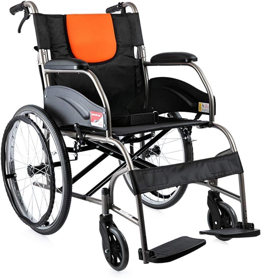 XY-YZGF Silla de rehabilitación médica, silla de ruedas, silla de ruedas plegable ligero con armas de longitud completa y elevando reposapiés, asiento 46cm, freno de mano Transporte silla de ruedas