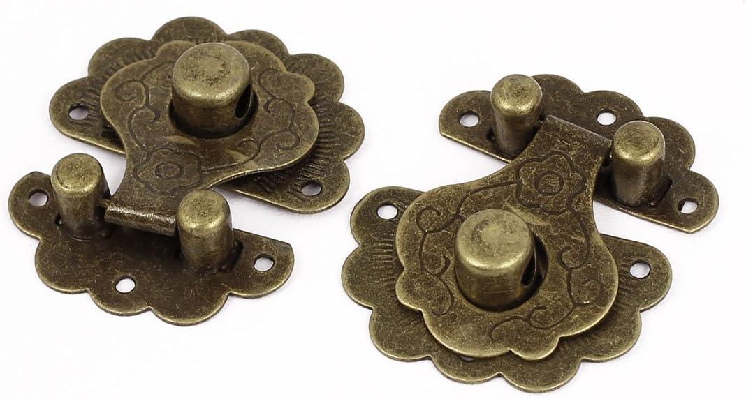 sourcingmap/® Wooden Case Chest Jewelry Box Metal Clasp Hasp Latch Bronze Tone 2 Set