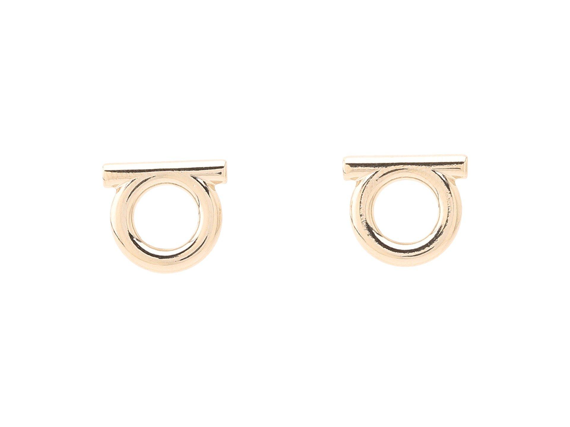 Salvatore Ferragamo Women's Brand Stud Earrings Oro Ch. One Size