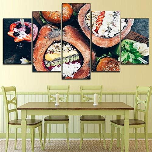 5ピースキャンバス絵画フルーツココナッツデザートタイプのポスター写真現代デザートと寿司の装飾壁40X60Cmx2 40X80Cmx2 40X100Cmx1フレームなし