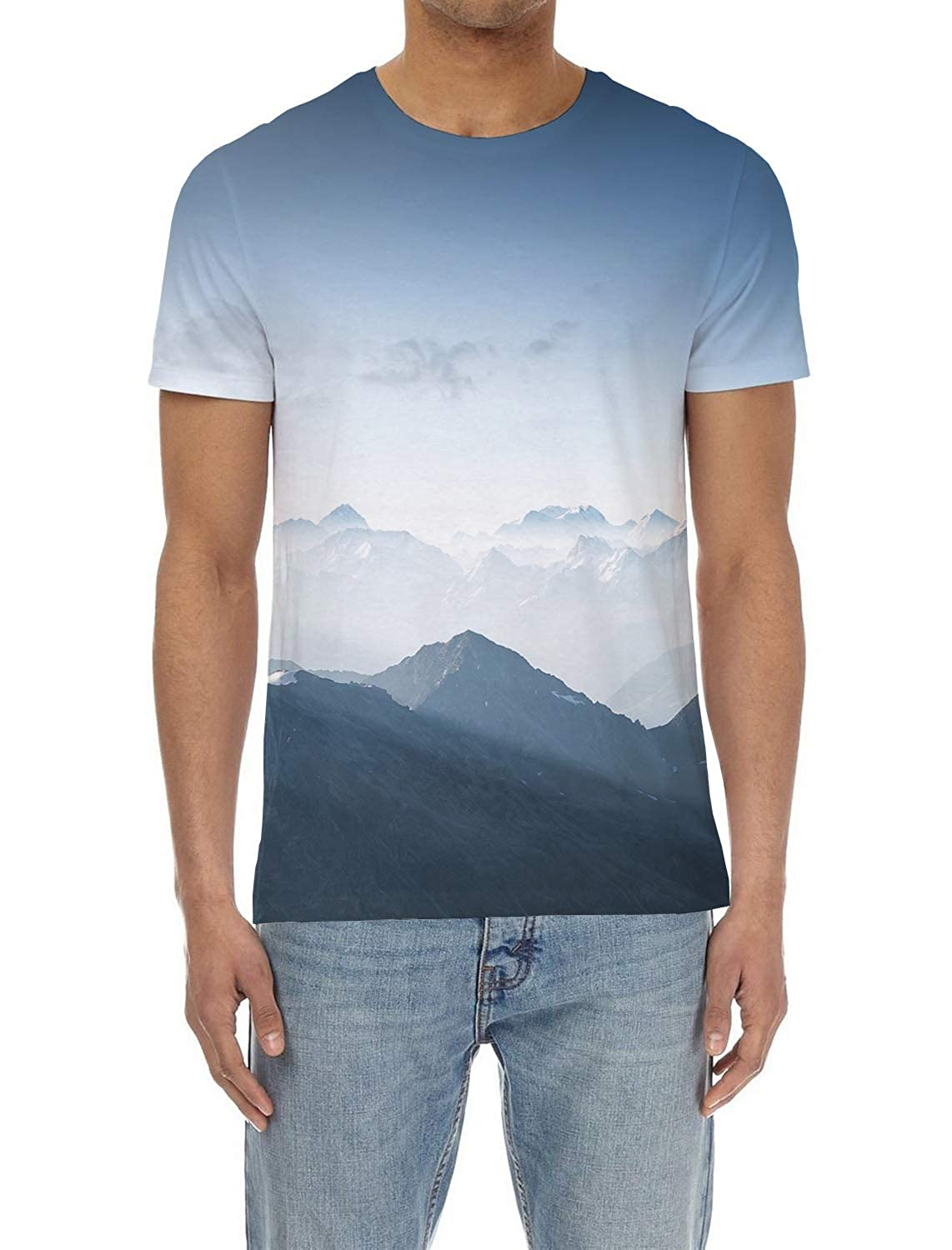 EZON-CH Mens Short-Sleeve Crewneck T-Shirt,Assorted Fashion 3D Printing Male Blouse Tee Tops,Mountains and Cloud for Youth,