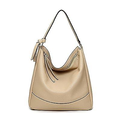Amazon.com  Women Leather Shoulder Bag Top-Handle Hobo Handbag Purse  Fashion Large Capacity Bag (Apricot)  Shoes 744482ae4d45c