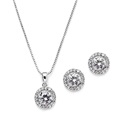 c7c2d9e90f82 Image Unavailable. Image not available for. Color  Mariell 10.5mm Cubic  Zirconia Round Halo Necklace   Earrings Wedding Jewelry Set ...