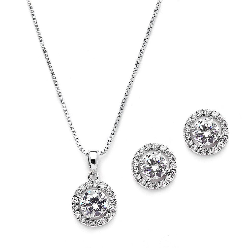 Mariell Dainty 10.5mm Cubic Zirconia Round Halo Necklace and Earrings Wedding Jewelry Set for Brides or Bridesmaids