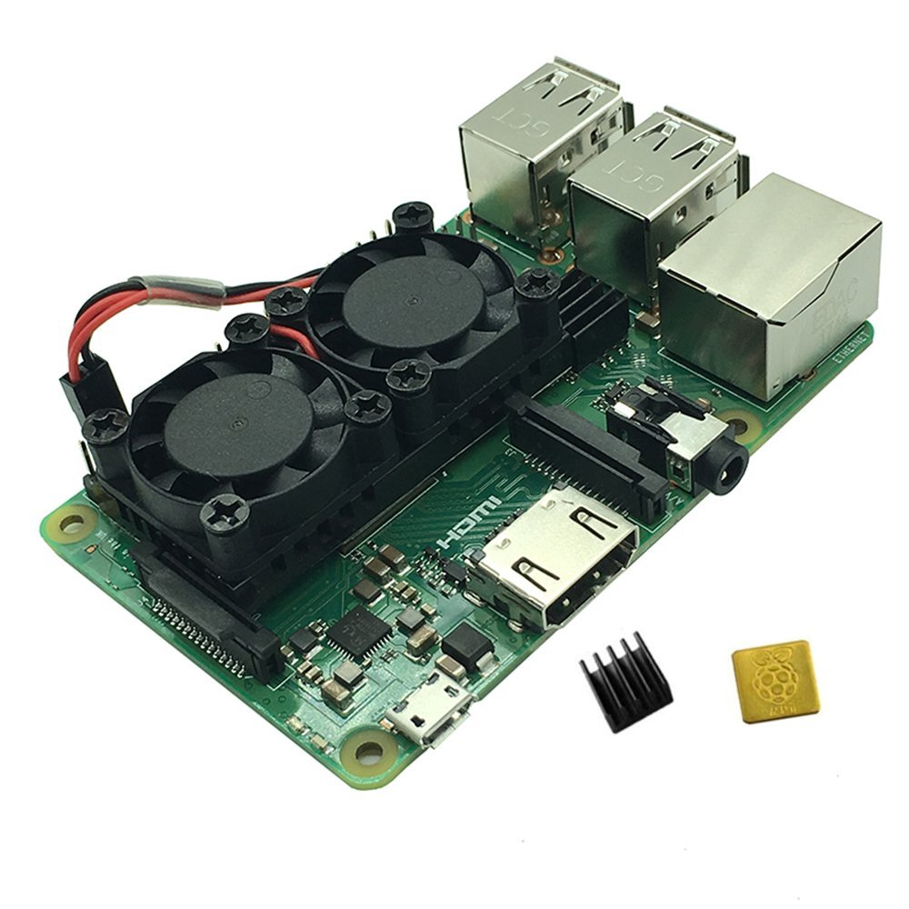 Ultimate Cooling Fan Kit Dual Fans 2 Fans with Aluminum Heatsinks Module Built-in housing Only for Raspberry Pi 3B+
