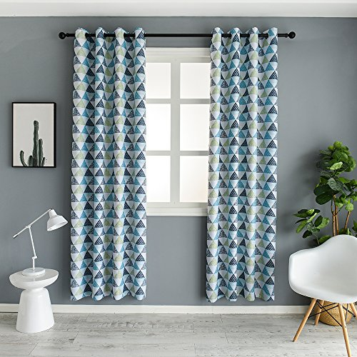 Mangata Casa Geometric Trellis Printed Room Darkening/Thermal Insulated Grommet Unlined Window Curtains 52X84in (1 Panel) Geometric Curtain