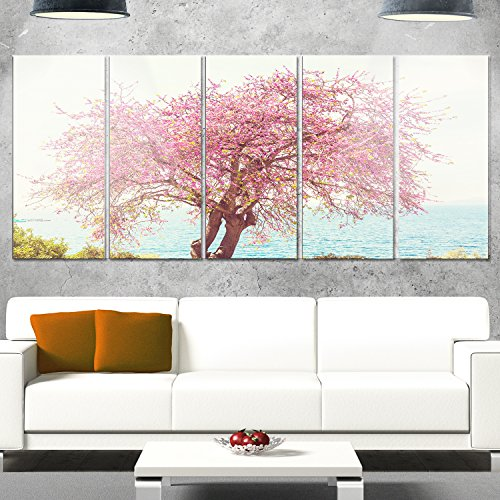 Designart MT12687-401 Flowers on Lonely Tree - Landscape Canvas Metal Wall Art, 60x28'', Pink by Design Art