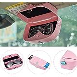 ATMOMO Pink Car Sun Visor Glasses Case Sunglasses Holder Clip Box Car Sunglasses Organizer Mount with Ticket Card Clip