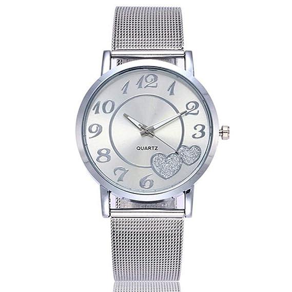 ZXMBIAO Reloj De Pulsera Mujeres Plata Y Oro Malla Amor Corazón Dial Relojes  De Pulsera De Cuarzo Acero Moda Casual Mujer Relojes 7d31b8be312b