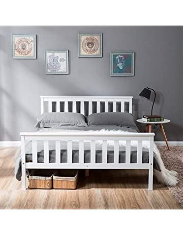 8ec50789329b LIFE CARVER Double Bed Wooden Frame White Solid Pine for Adults, Kids,  Teenagers (