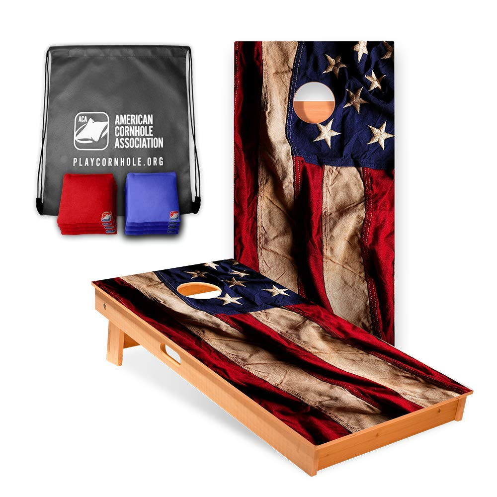 Official Cornhole Boards & Bags Set - American Cornhole Association - American Flag Design - Heavy Duty Wood Construction - Regulation Size Bean Bag Toss for Adults, Kids - Lawn, Tailgate, Camping by ACA American Cornhole Association