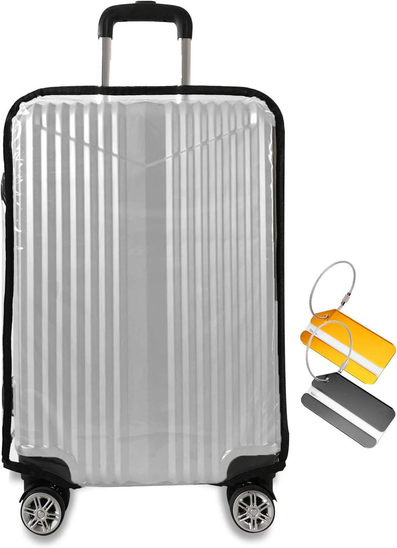 JoyCube Cubierta de la Maleta, Claro PVC Funda de Maleta Protector de Equipaje, Funda Protectora de Trolley de Viaje con Etiqueta del Equipaje, Bolsa de Reutilizable Lavable Anti-arañazos(Unisexo)