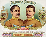 Plucky Riders Brand Cigar Box Label - Gen. Wood and Col. Roosevelt (36x54 Giclee Gallery Print, Wall Decor Travel Poster)
