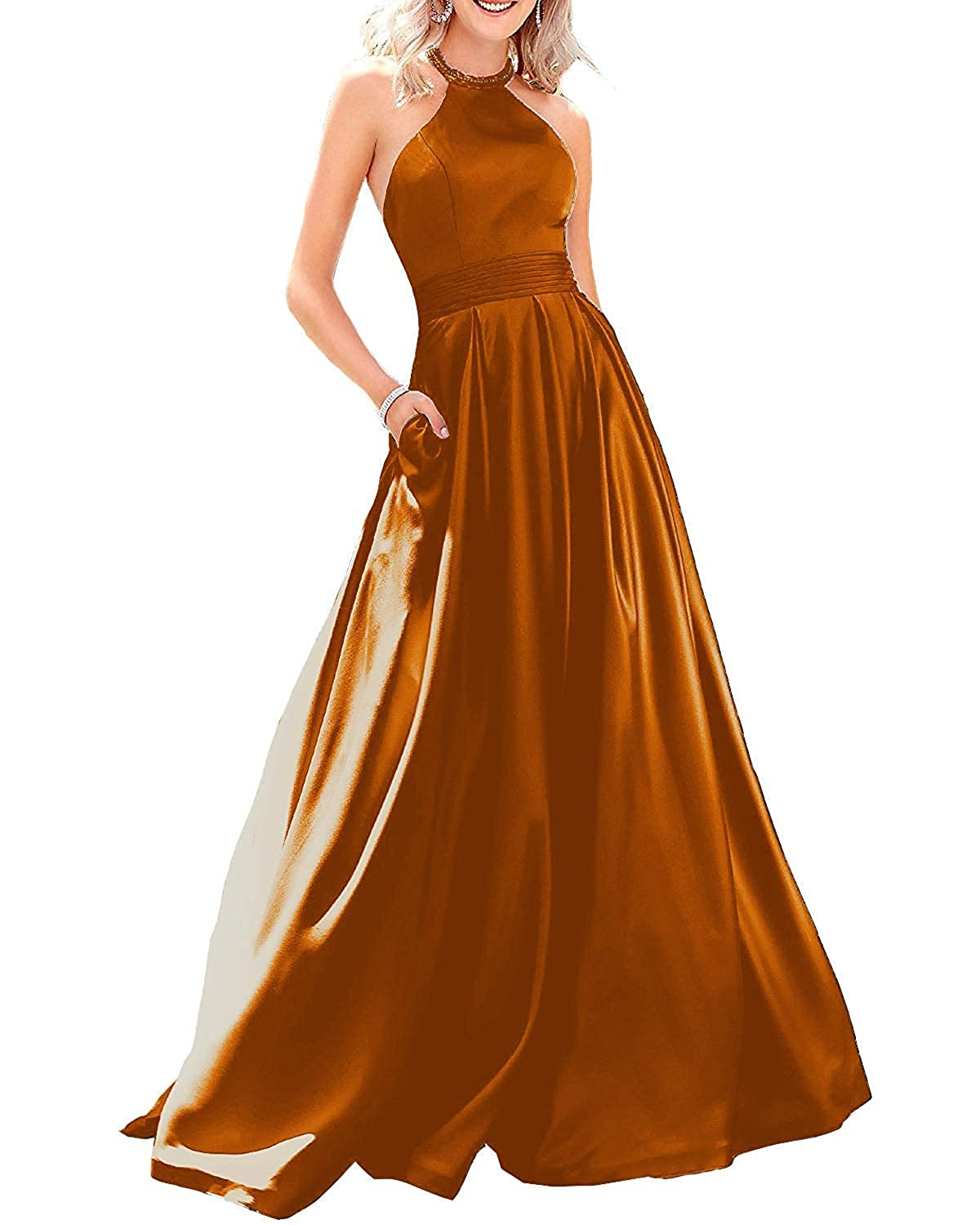 Ginger Sulidi Women's Halter Long Satin Prom Dresses Backless Ball Gown Evening Party Formal Dress C100