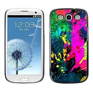 QCASE / Samsung Galaxy S3 I9300 / colorfol pintura brillante pintura moderna splash / Delgado Negro Plástico caso cubierta Shell Armor Funda Case Cover