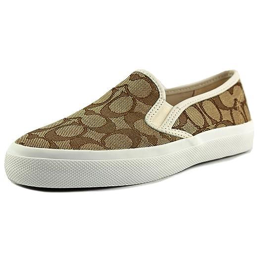 Coach Womens Chrissy Khaki Chalk Chestnut Slip-On Logo Sneakers 8 B(M)