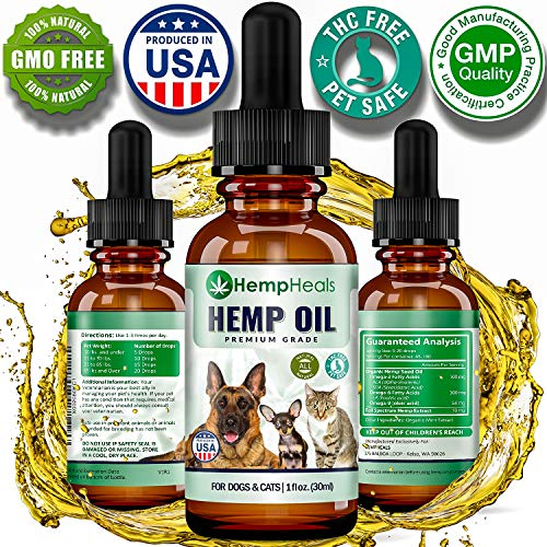 Hemp Oil for Dogs & Cats Full Spectrum Hemp Oil Extract Calming Anxiety Relief for Dogs & Pets Natural Hip & Joint Supplement - Organic Pet Vitamins - Reduces Pain & Inflammation