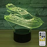 NINE SQUARE EGOU Night Lights for Kids Yacht Decorations 7 Colors Change with Remote Baby Night Light Beside Lamp Kids Lamp Children's Night Lights As a Gift Idea for Girls and Boys (Yacht)